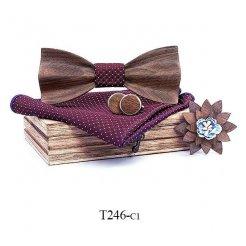 Mahoosive Dřevěný motýlek s kapesníčkem a manžetovými knoflíčky T246