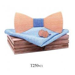 Mahoosive Dřevěný motýlek s kapesníčkem a manžetovými knoflíčky T250