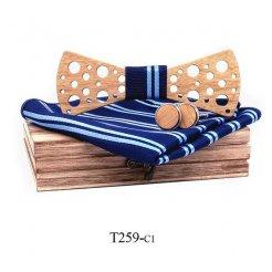 Mahoosive Dřevěný motýlek s kapesníčkem a manžetovými knoflíčky T259