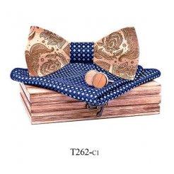 Mahoosive Dřevěný motýlek s kapesníčkem a manžetovými knoflíčky T262