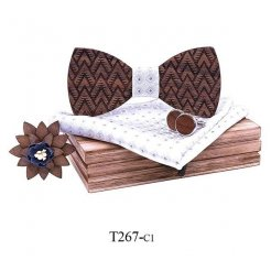 Mahoosive Dřevěný motýlek s kapesníčkem a manžetovými knoflíčky T267