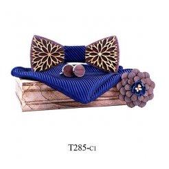 Mahoosive Dřevěný motýlek s kapesníčkem a manžetovými knoflíčky T285