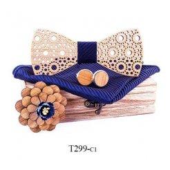 Mahoosive Dřevěný motýlek s kapesníčkem a manžetovými knoflíčky T299