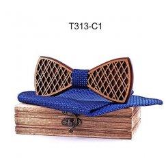 Mahoosive Dřevěný motýlek s kapesníčkem T313