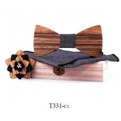 Mahoosive Dřevěný motýlek s kapesníčkem T331