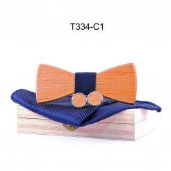 Mahoosive Dřevěný motýlek s kapesníčkem a manžetovými knoflíčky T334