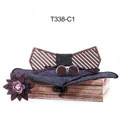 Mahoosive Dřevěný motýlek s kapesníčkem a manžetovými knoflíčky T338
