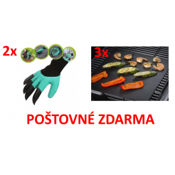 SADA 3x teflonová grilovací podložka + 2x rukavice s drápy + POŠTOVNÉ ZDARMA