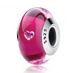 Bamoer stříbrný přívěsek růžové Murano sklo