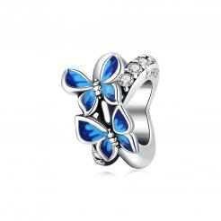 Bamoer stříbrný přívěsek Létající motýli