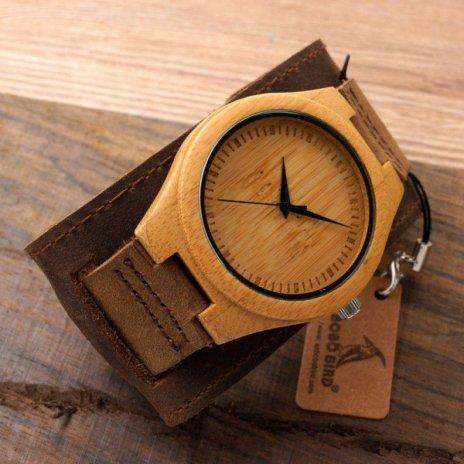 Dřevěné hodinky BOBO BIRD Chicago I - Bambusové dřevo