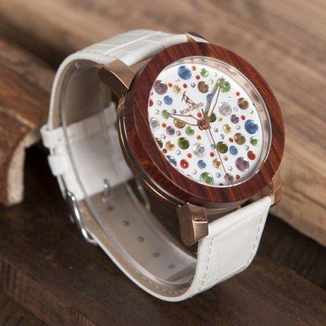 Dřevěné hodinky BOBO BIRD J04J06 - bílý řemínek