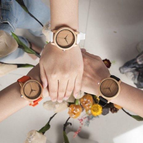 Dřevěné hodinky BOBO BIRD B08 - bílý pásek