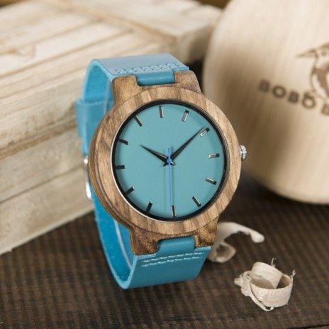 Dřevěné hodinky BOBO BIRD Blue Leather Strap Lovers' Quartz WristwatchTimepieces Herrenuhr WC28