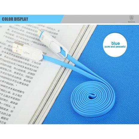 KB18 USB kabel Colorful 2in1 pro android zařízení i Iphone, Modrá, 1m Modrá
