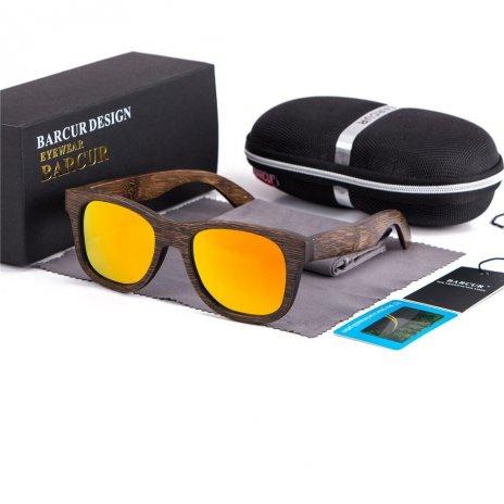 Dřeveněné brýle polarizační Retro style BCR05 Oranžová