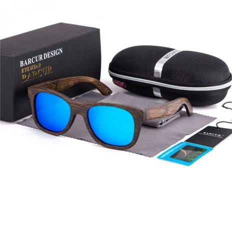 Dřeveněné brýle polarizační Retro style BCR05 Modrá
