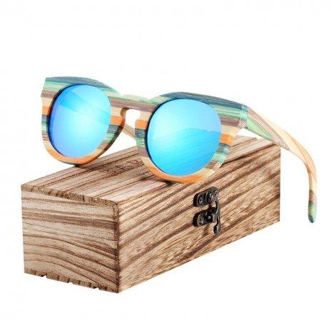 Dřevěněné brýle polarizační Lunette de soleil homme BCR09 Blankytná