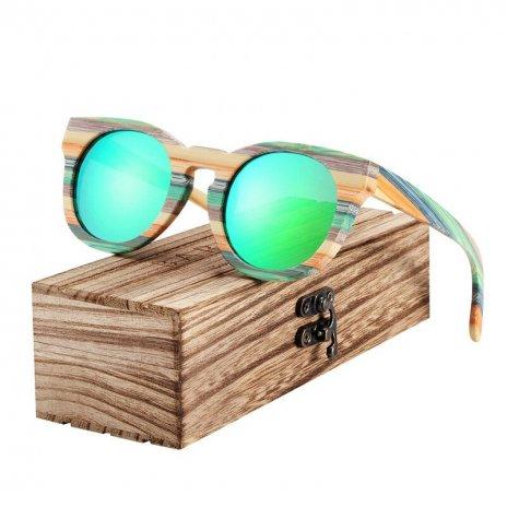 Dřevěněné brýle polarizační Lunette de soleil homme BCR09 Zelená