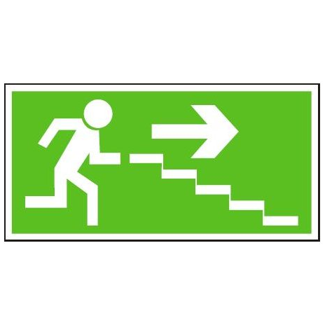 Únikové schodiště vpravo dolů | samolepka, 210x105mm
