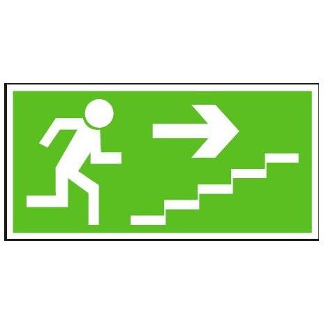 Únikové schodiště vpravo nahorů | samolepka, 210x105mm