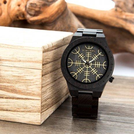 Dřevěné hodinky Runic Circle WQ14