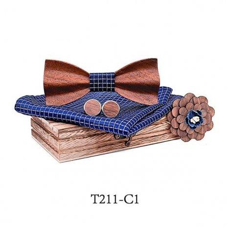 Mahoosive Dřevěný motýlek s kapesníčkem a manžetovými knoflíčky T211