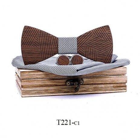 Mahoosive Dřevěný motýlek s kapesníčkem a manžetovými knoflíčky T221