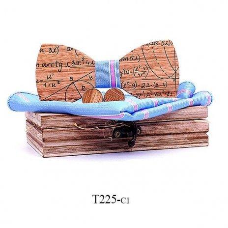 Mahoosive Dřevěný motýlek s kapesníčkem a manžetovými knoflíčky T225