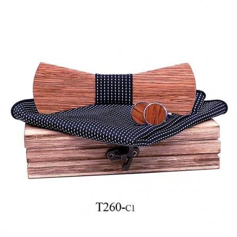 Mahoosive Dřevěný motýlek s kapesníčkem a manžetovými knoflíčky T260
