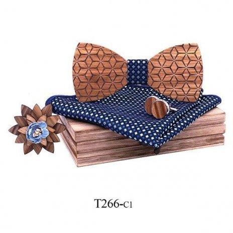 Mahoosive Dřevěný motýlek s kapesníčkem a manžetovými knoflíčky T266