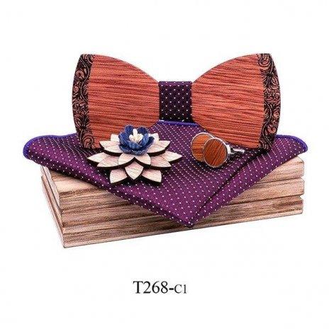 Mahoosive Dřevěný motýlek s kapesníčkem a manžetovými knoflíčky T268