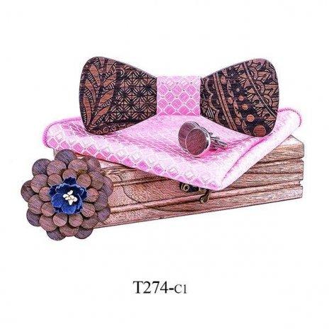 Mahoosive Dřevěný motýlek s kapesníčkem a manžetovými knoflíčky T274