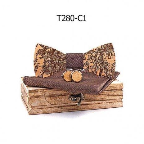 Mahoosive Dřevěný motýlek s kapesníčkem a manžetovými knoflíčky T280