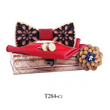 Mahoosive Dřevěný motýlek s kapesníčkem a manžetovými knoflíčky T284