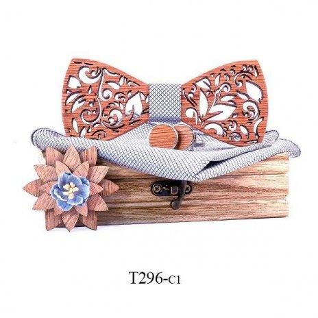 Mahoosive Dřevěný motýlek s kapesníčkem a manžetovými knoflíčky T296