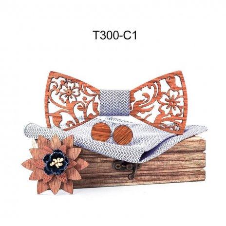 Mahoosive Dřevěný motýlek s kapesníčkem a manžetovými knoflíčky T300