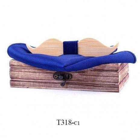 Mahoosive Dřevěný motýlek s kapesníčkem T318