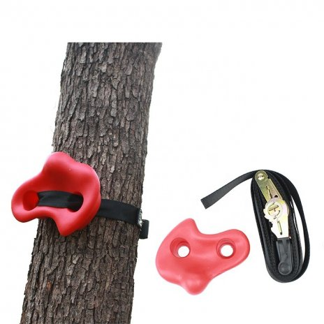 Lezecký chyt s upínacími popruhy na strom