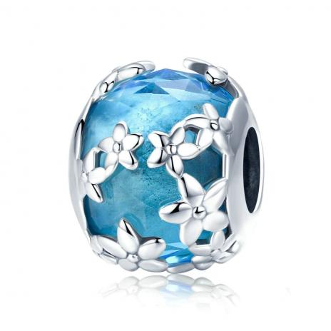 Bamoer stříbrný přívěsek Modrý květ