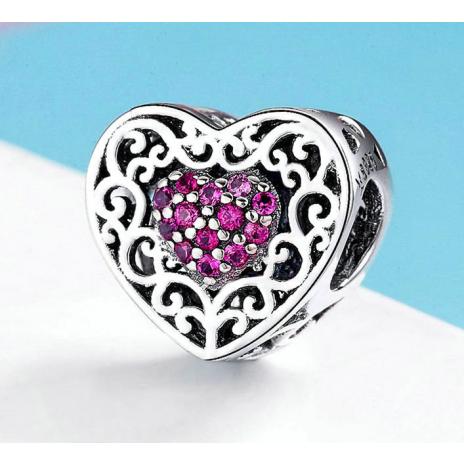 Bamoer stříbrný přívěsek Dvojí srdce