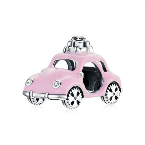 Bamoer stříbrný přívěsek Růžové autíčko