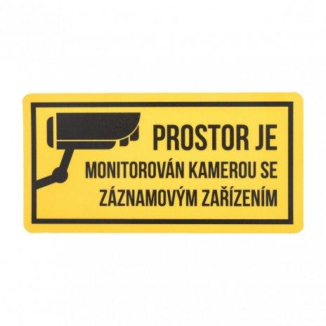 Výstražná bezpečnostní samolepka - 12x6cm (pro nalepení zevnitř)