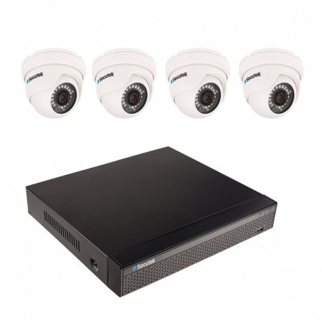 8MP kamerový set se 4K záznamem Secutek SLG-NVR3604CDP1S800 - 4x 8MP dome kamera, NVR