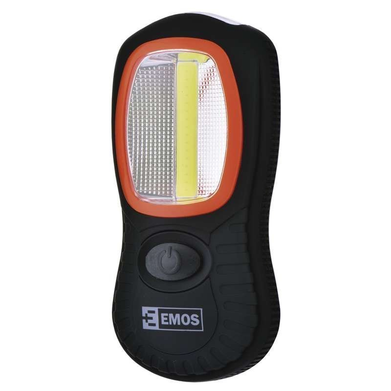 LED svítilna plastová, 3W COB LED + 3x LED, na 3x AAA
