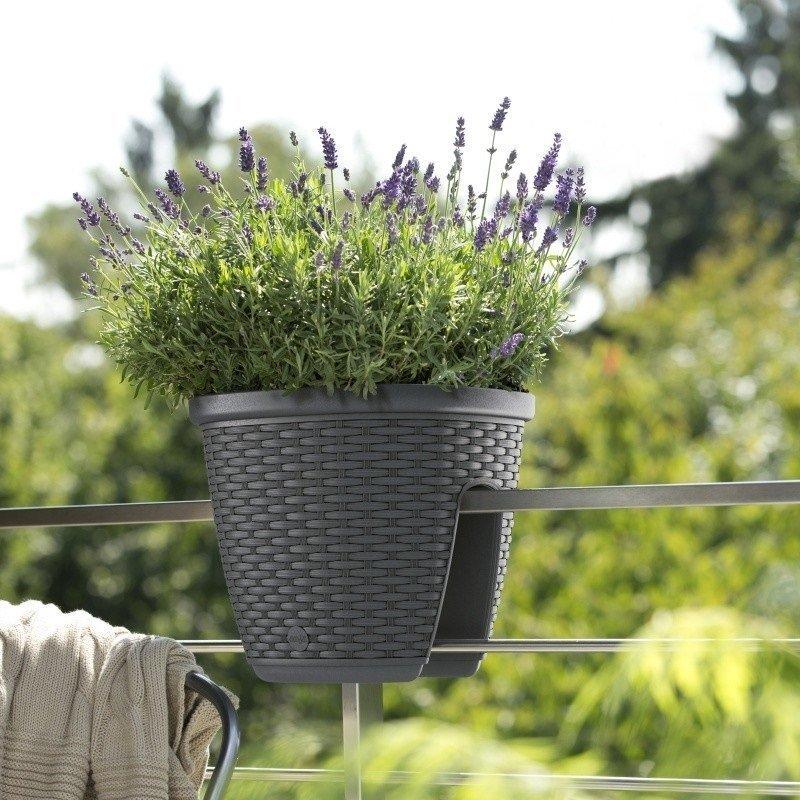 Květináč na zábradlí CASA MESH 30x30cm, barva: světle šedá