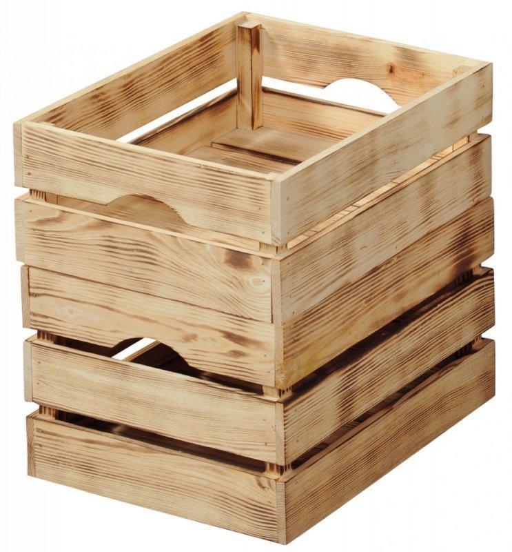 Kesper Dřevěná opálená bedýnka 30 x 20 x 15 cm