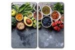 Kesper Multifunkční skleněná deska 2 ks, motiv Zdravé vaření