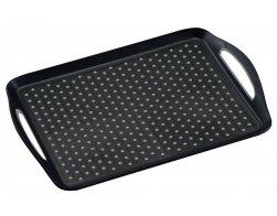 Kesper Servírovací tác plastový, protiskluzový černý 45,5 x 32 cm
