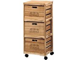 Kesper Regál pojízdný s úložnými dřevěnými boxy